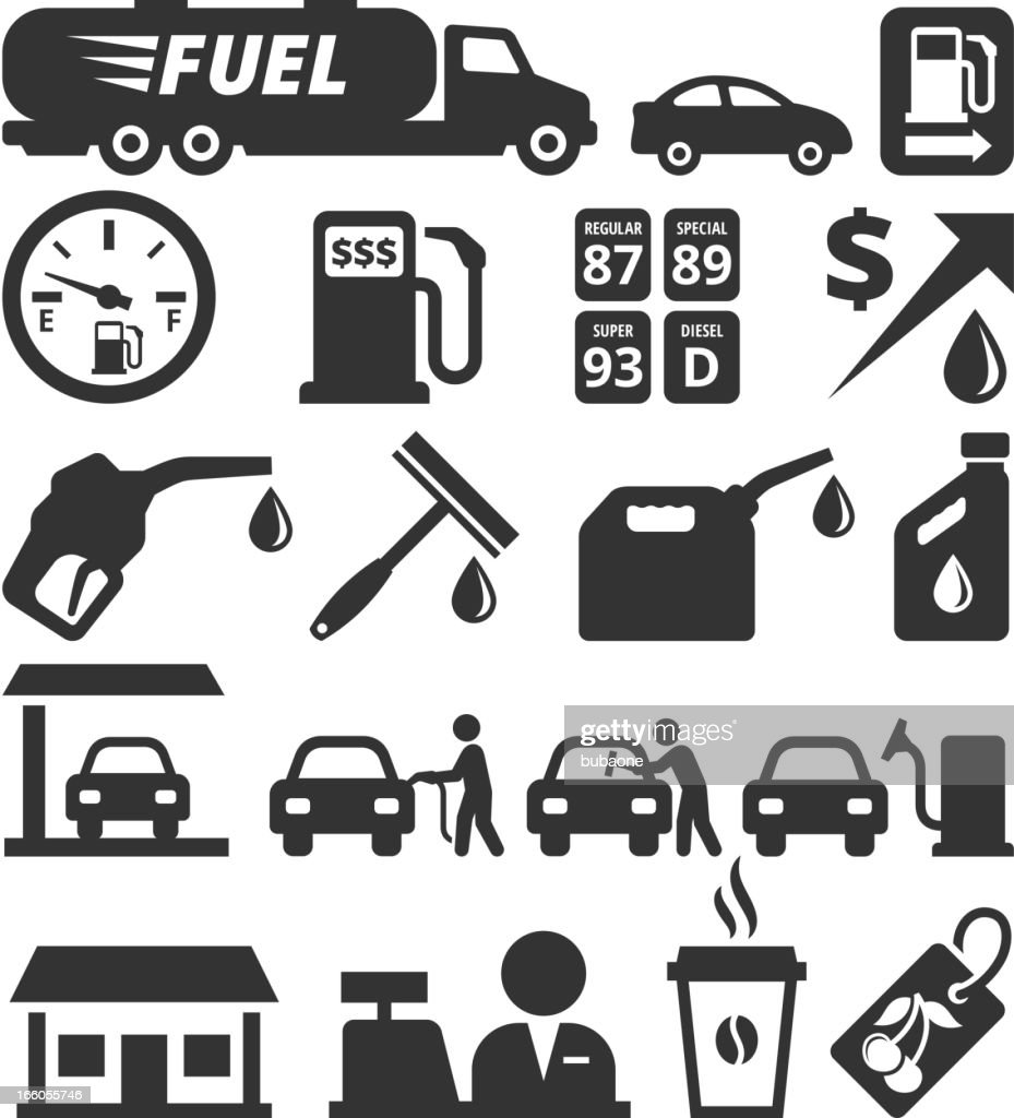 Oil Industry and Gas Station black & white icon set