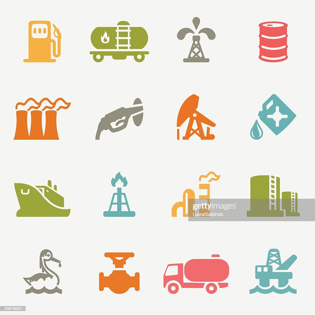 Oil Industry color variation icons | EPS10 : stock illustration