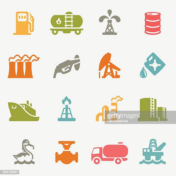 Oil Industry color variation icons | EPS10