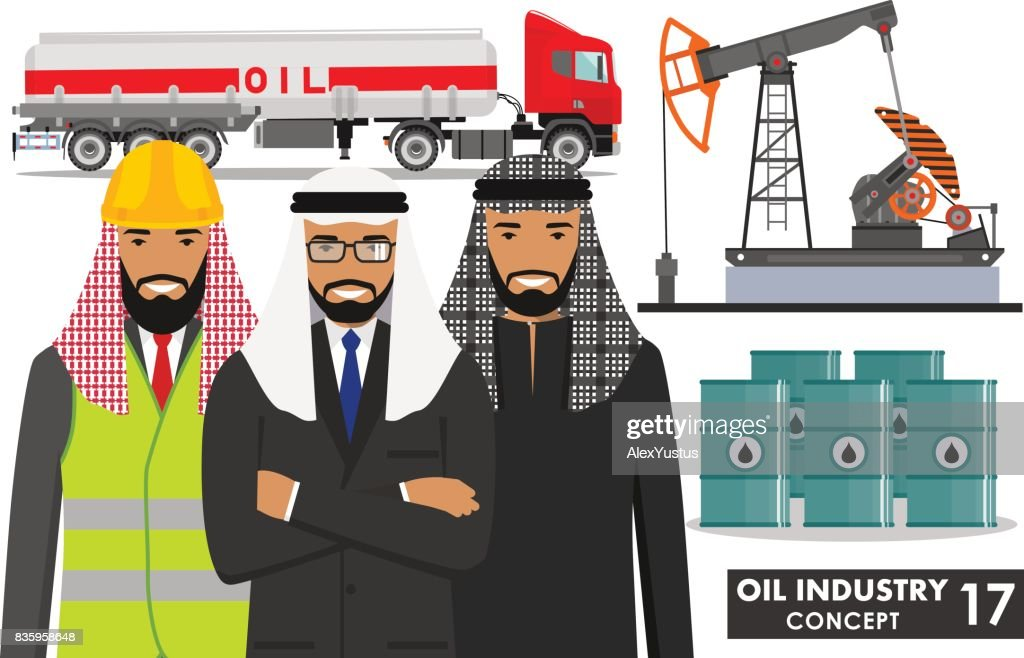 Oil industry concept. Detailed illustration of gasoline truck, oil pump, barrels and arab muslim businessman in flat style on white background. Vector illustration.