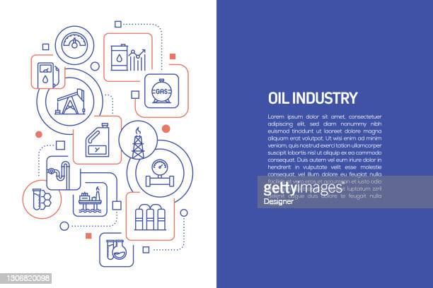 oil industry concept, vector illustration of oil industry with icons - manufacturing equipment stock illustrations
