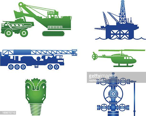 oil industry equipment images in blue and green - oil field stock illustrations, clip art, cartoons, & icons