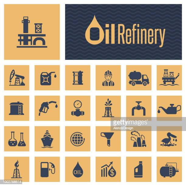 oil industry icon set - oil pump stock illustrations, clip art, cartoons, & icons