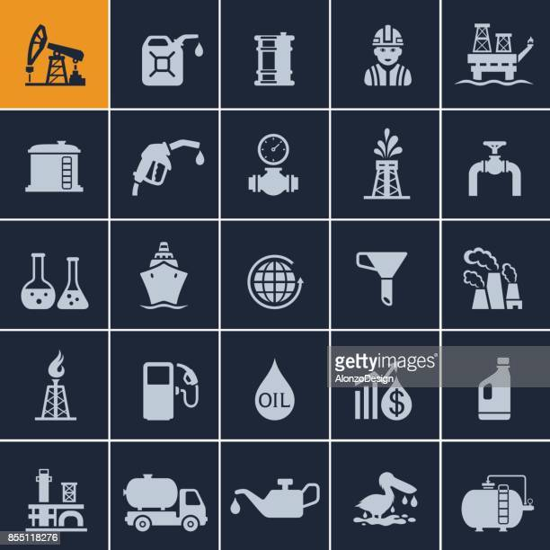 oil industry icon set - fuel station stock illustrations, clip art, cartoons, & icons