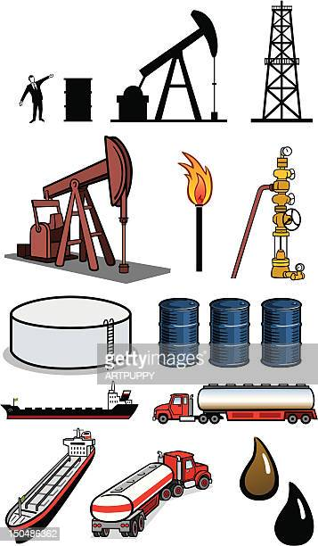 oil industry icons - drilling rig stock illustrations, clip art, cartoons, & icons