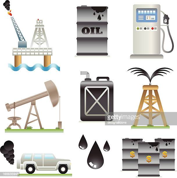 oil industry icons - petrochemical plant stock illustrations, clip art, cartoons, & icons