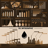 Oil industry infographics design template