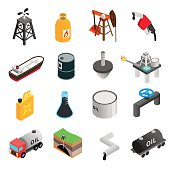 Oil industry isometric 3d icons