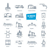 Oil industry line icons set. Gas station, factory, transportation, buildings