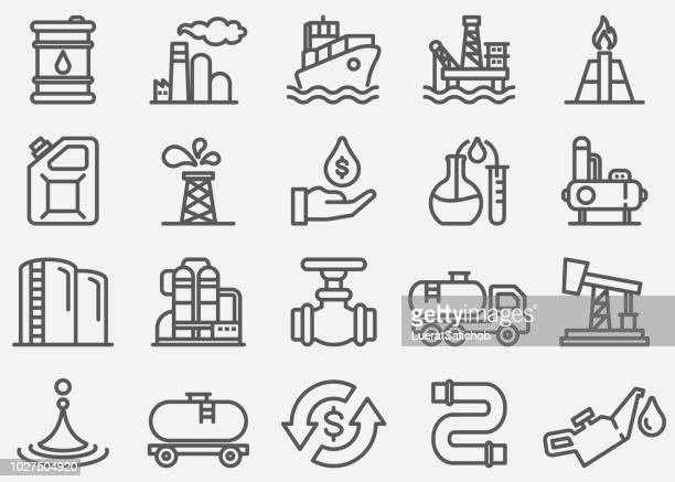 oil industry line icons - oil pump stock illustrations, clip art, cartoons, & icons