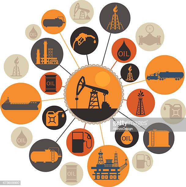 oil industry montage - oil field stock illustrations, clip art, cartoons, & icons