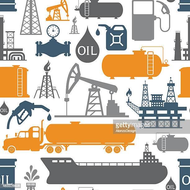 oil industry pattern - oil tanker stock illustrations, clip art, cartoons, & icons