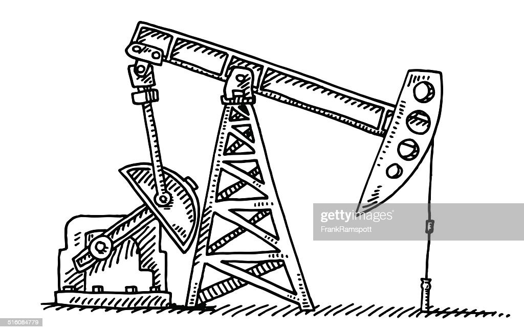 Oil Industry Pump Jack Drawing Vector Art Getty Images