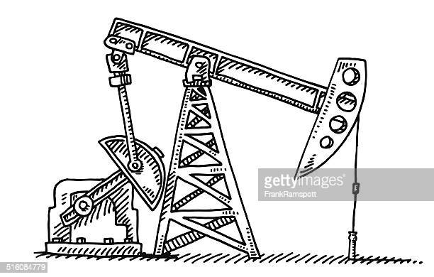oil industry pump jack drawing - oil pump stock illustrations, clip art, cartoons, & icons
