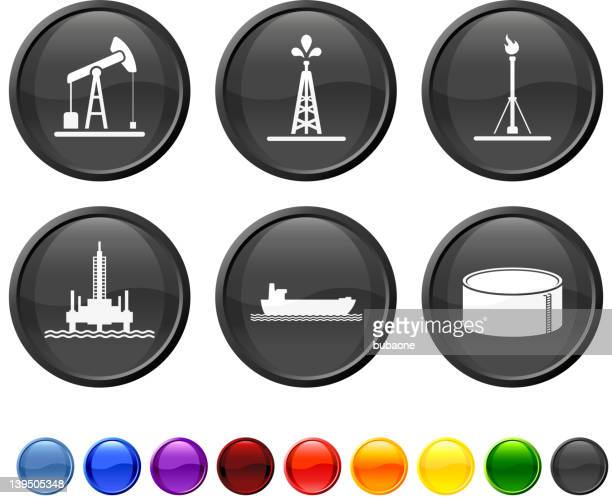 oil industry resources royalty free vector icon set - drilling rig stock illustrations, clip art, cartoons, & icons