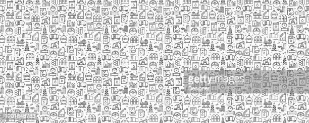ilustraciones, imágenes clip art, dibujos animados e iconos de stock de patrón y fondo sin costuras de la industria petrolera con iconos de línea - torre petrolera