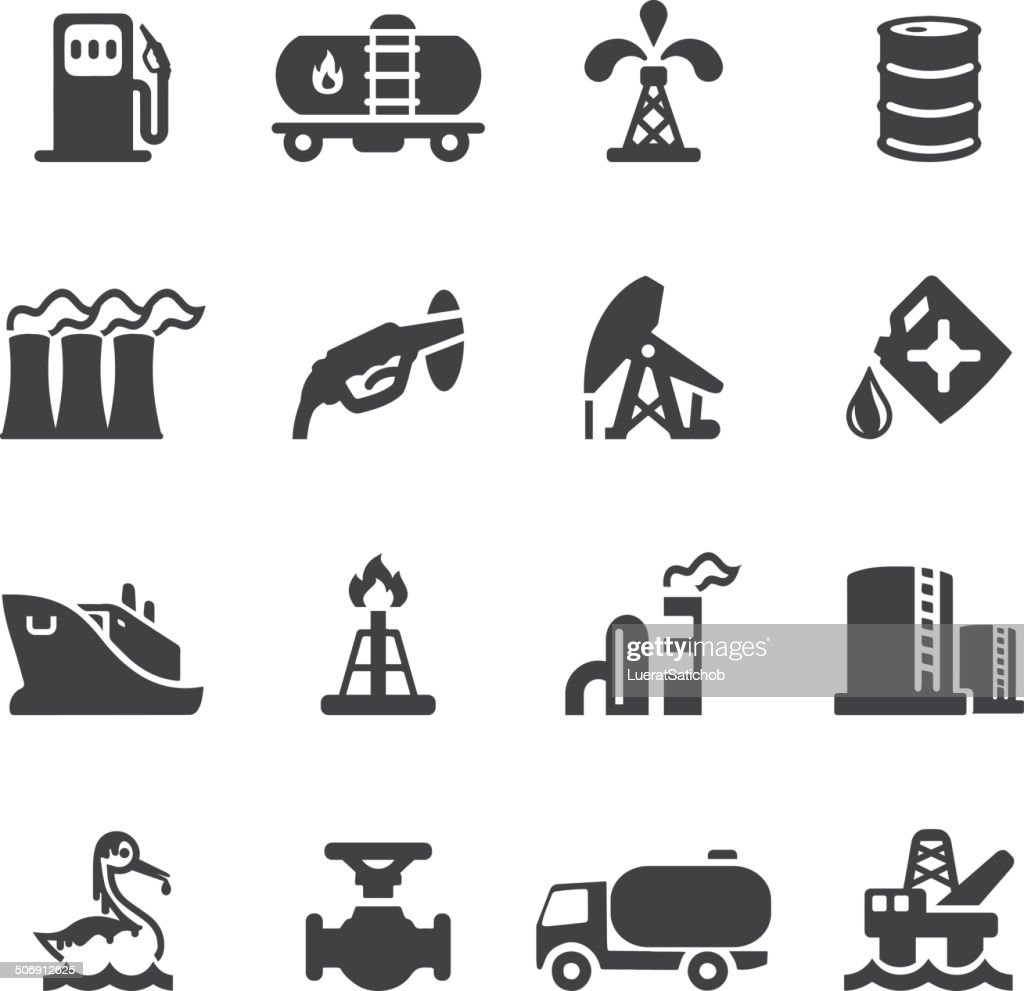 Oil Industry Silhouette icons | EPS10 : stock illustration