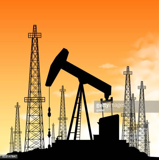oil industry silhouette - oil pump stock illustrations, clip art, cartoons, & icons