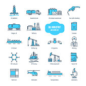Oil industry thin line icons, pictogram and symbol set