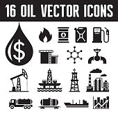 Oil industry - vector icons set