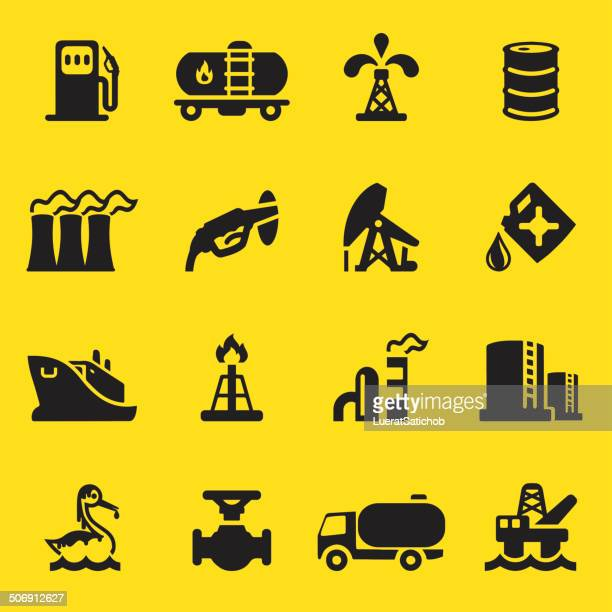 oil industry yellow silhouette icons | eps10 - air valve stock illustrations, clip art, cartoons, & icons