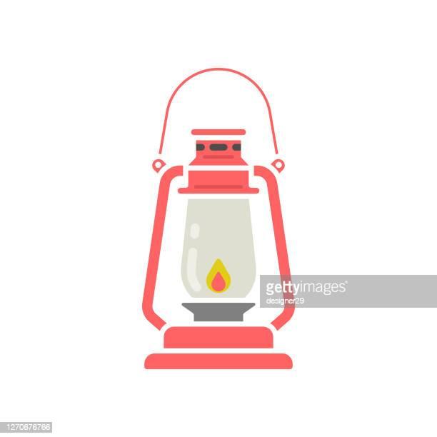 oil lamp or lantern icon flat design. - lantern stock illustrations