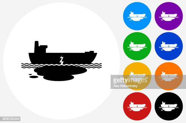 oil leak ship wreck icon on flat color circle buttons - water pollution stock illustrations, clip art, cartoons, & icons