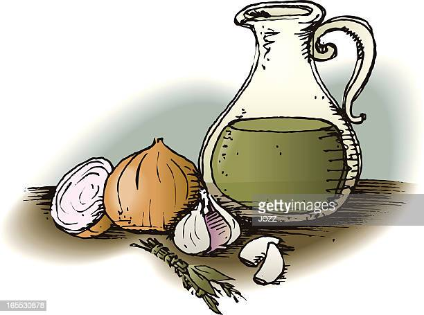 oil, onion and garlic