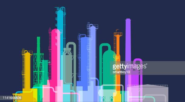 oil or gas refinery - crude oil stock illustrations