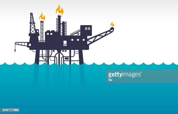 oil platform at sea - offshore platform stock illustrations, clip art, cartoons, & icons