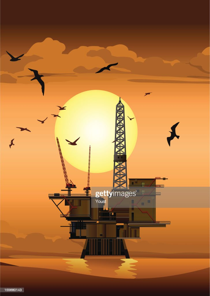 Plataforma de petróleo no pôr-do-sol : Ilustração