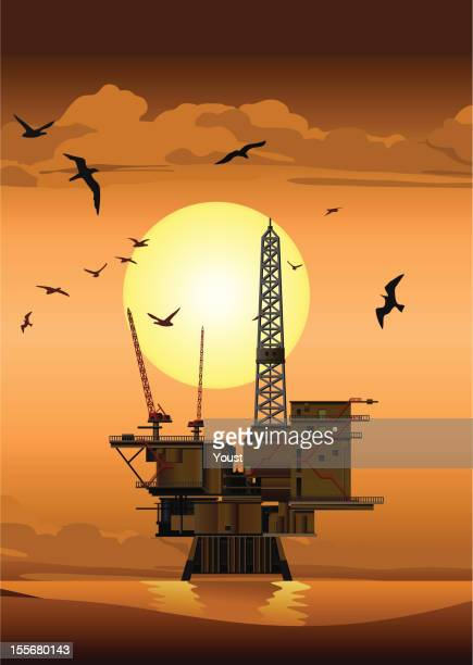 oil platform at sunset - offshore platform stock illustrations, clip art, cartoons, & icons