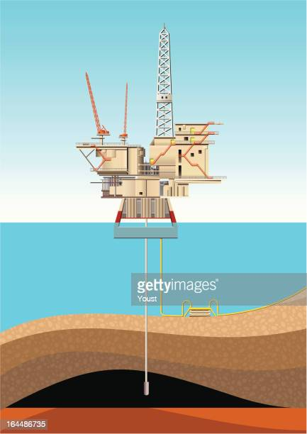 oil platform - offshore platform stock illustrations, clip art, cartoons, & icons
