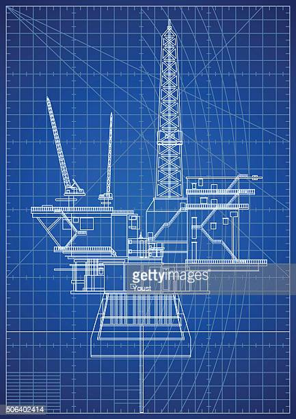 oil platforms blueprint - oil pump stock illustrations, clip art, cartoons, & icons