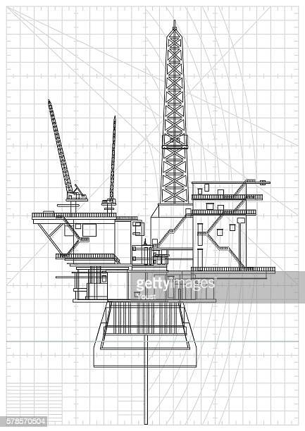 oil platforms blueprint - offshore platform stock illustrations, clip art, cartoons, & icons