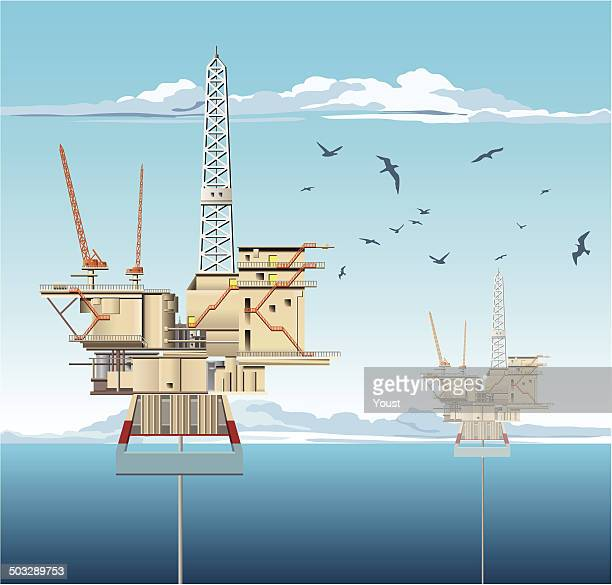 oil platforms - petrochemical plant stock illustrations, clip art, cartoons, & icons