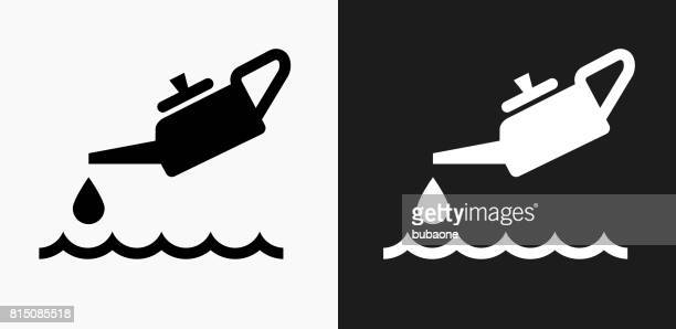 Oil Pollution Icon on Black and White Vector Backgrounds