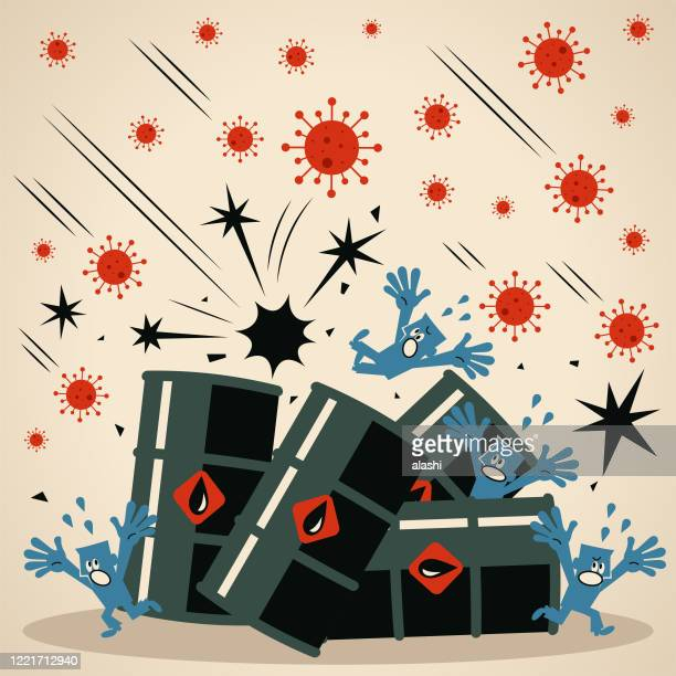 oil prices are negative (falling down) due to a collapse in demand caused by the coronavirus pandemic and a lack of storage capacity for excess supply - collapsing stock illustrations