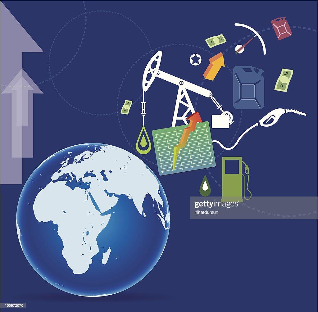 Produção de oleosidade e World : Ilustração