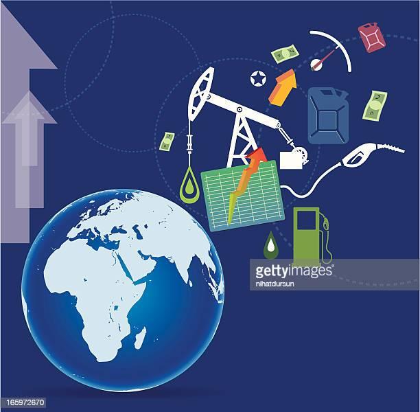 ilustrações, clipart, desenhos animados e ícones de produção de oleosidade e world - fábrica petroquímica