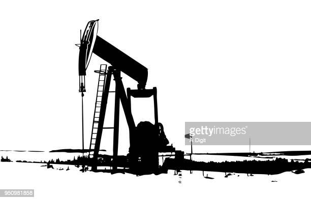石油ポンプ掘削 - 鉱業点のイラスト素材/クリップアート素材/マンガ素材/アイコン素材