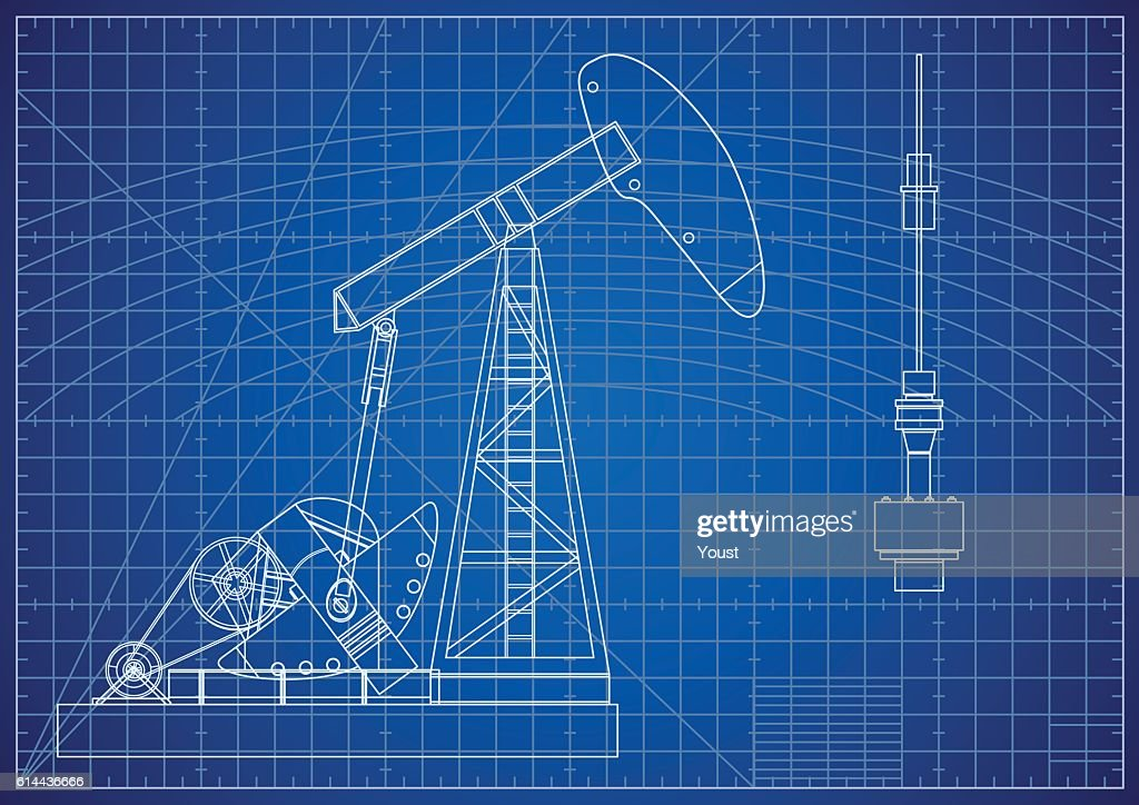 Oil pump jack blueprint oil and gas production facilities vector oil pump jack blueprint oil and gas production facilities vector art malvernweather Images
