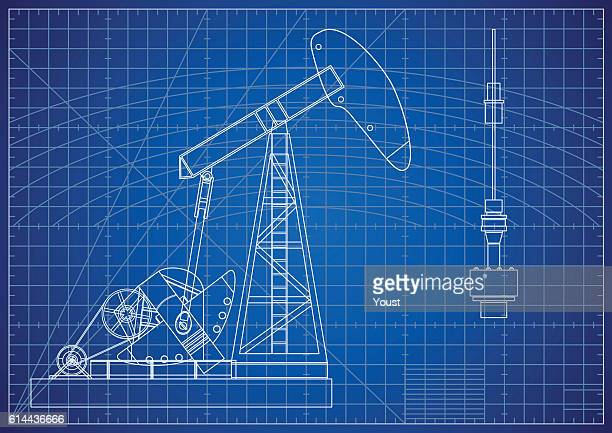 ilustraciones, imágenes clip art, dibujos animados e iconos de stock de oil pump jack blueprint. oil and gas production facilities - corteza terrestre