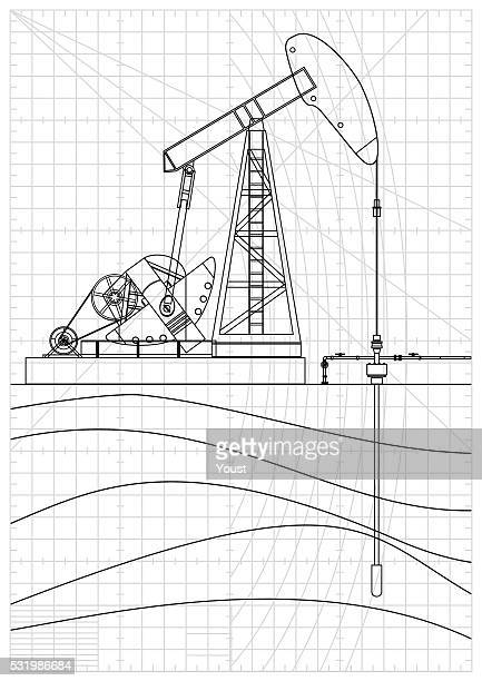 ilustraciones, imágenes clip art, dibujos animados e iconos de stock de aceite bomba jack cianotipo - corteza terrestre