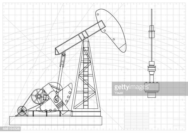 oil pump jack blueprint - oil pump stock illustrations, clip art, cartoons, & icons