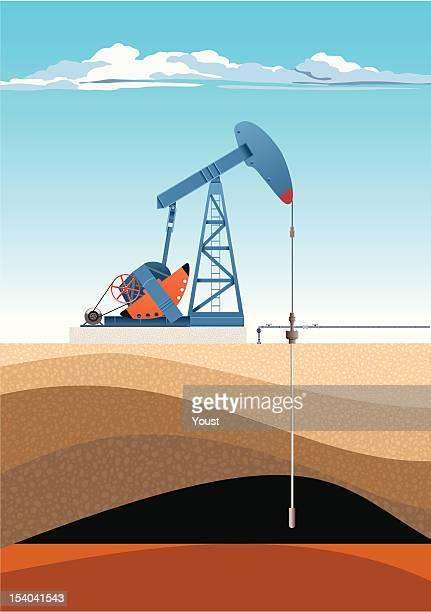 ilustraciones, imágenes clip art, dibujos animados e iconos de stock de aceite bomba jack - corteza terrestre