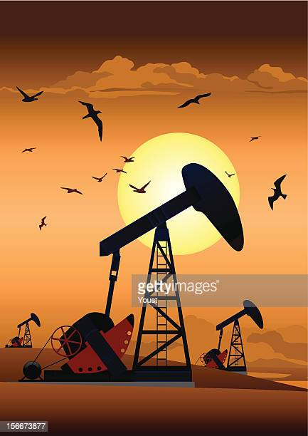 oil pump jack - offshore platform stock illustrations, clip art, cartoons, & icons