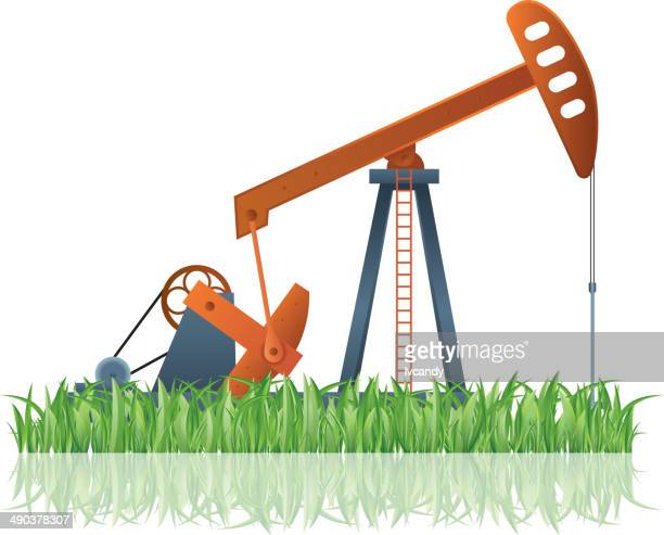 oil pump on lawn - oil pump stock illustrations, clip art, cartoons, & icons