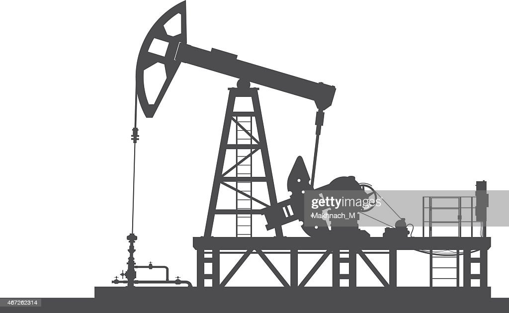 Oil pump silhouette isolated on white background.