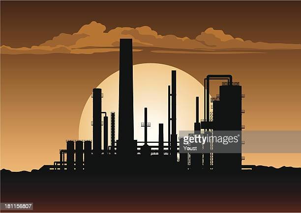 oil refinery at night - petrochemical plant stock illustrations, clip art, cartoons, & icons